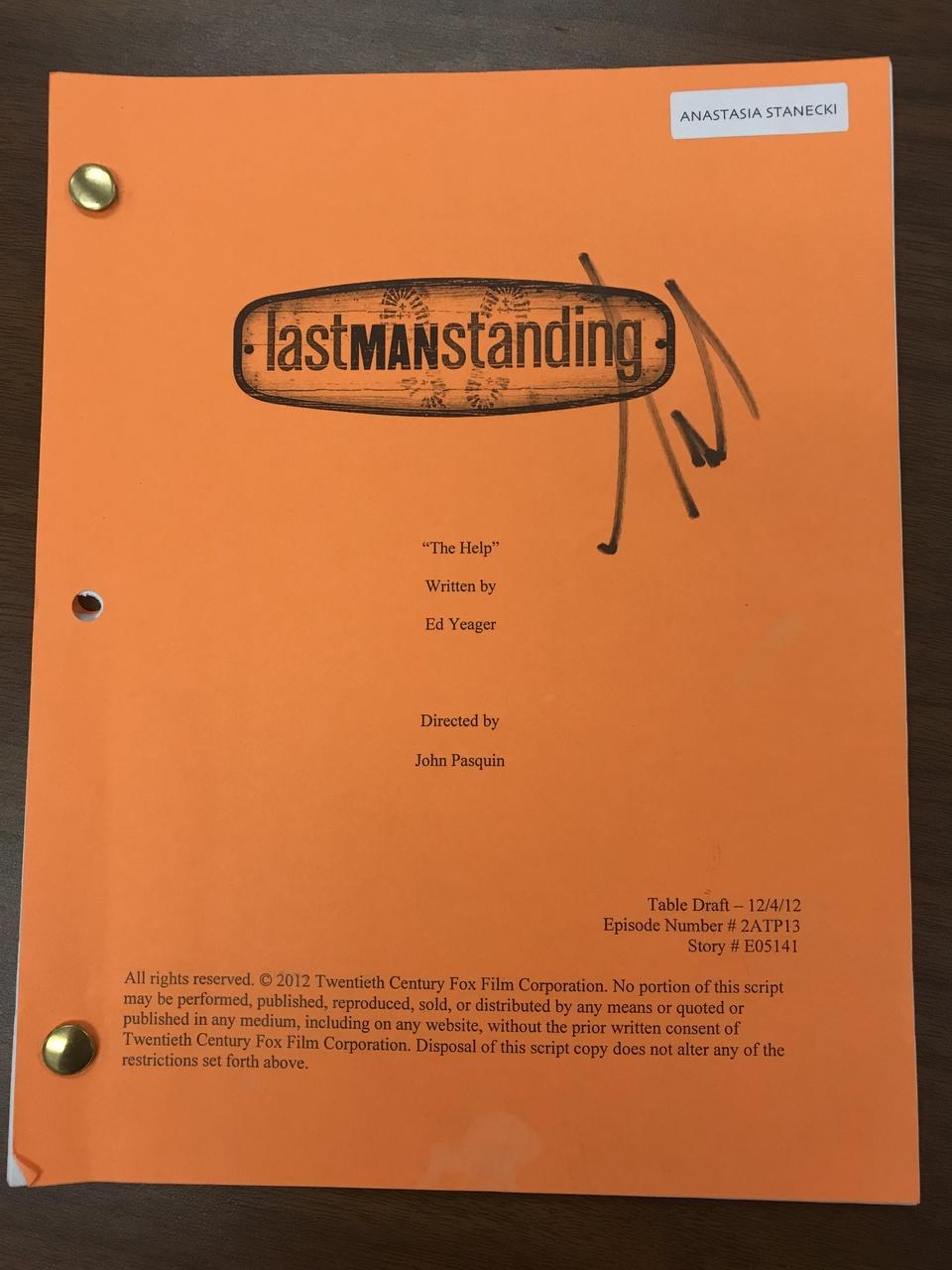 Tim Allen Autographed Script