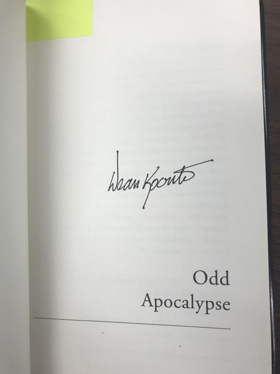 Dean Koontz - Odd Apocalypse autographed book