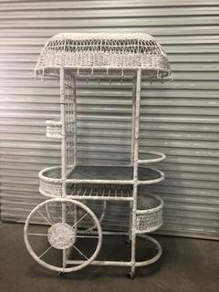 White Wicker Flower Cart