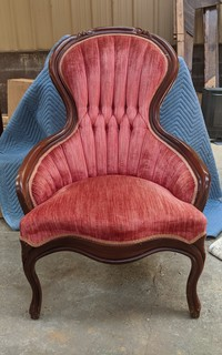 Red Upholstered Shell Chair
