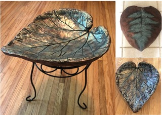 GARDEN LEAVES BIRDBATH /  BIRDFEEDER -- LARGE -- WITH STAND
