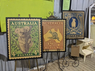 Large Wooden Australian Stamp Art