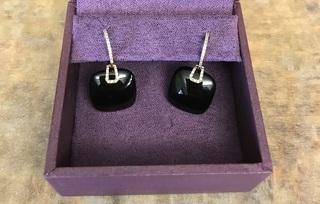 Black Agates Diamond Earrings