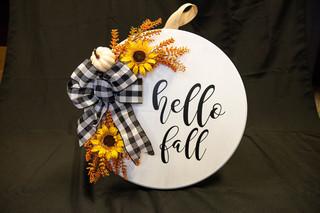 """Hello Fall"" Custom Wood Sign"