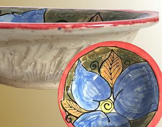 Blue Leaves Large Pottery Bowl