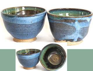 Set of 2 Blue/Green Bowls