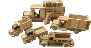 3. Set of 5 Handcrafted Toy Trucks