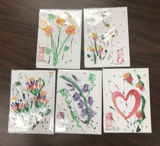 Set of 5 Sumi-E Paintings on Stationary by Helen C. Regenstreif
