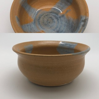 Speckled Sand Bowl with Light Blue Accent