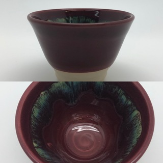 Burgundy Bowl with Green Splash Interior