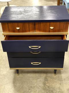 Item ZD - Refinished Navy & Gold Dresser