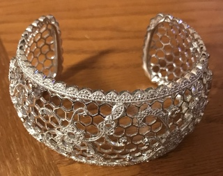 Sterling silver cuff with diamond accents