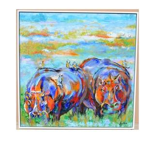 """*Hippos & Friends Original Painting (48""""x48"""")"""