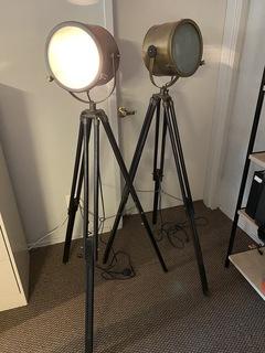 Tripod Spotlight Floor Lamp Pair