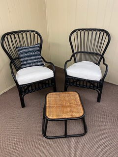 Pair of Black Wicker Chairs w/ Ottoman
