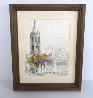 Framed Watercolor and Signed Book