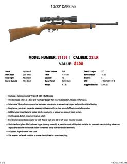 Ruger 22® Carbine Autoloading Rifle With Scope Model 31159