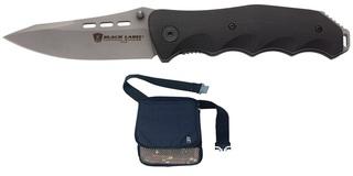 Folding Knife & Superior Shell Pouch Black W/Belt
