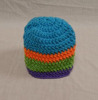 Hat: Turquoise orange/green/ purple