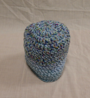 Hat: turquoise/pale blue/ blue multi