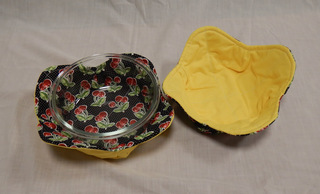 Pair of bowl cozies, made by Laurie Riley, member of SAWS2