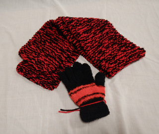 Scarf and Gloves, donated by Carol Turkett, member of SAWS2