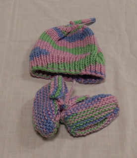 Baby Hat and Booties, donated by Carol Turkett, member of SAWS2