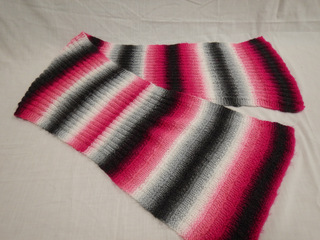 Scarf in Magenta, Gray, Black and White, donated by Carol Turkett, member of SAWS2