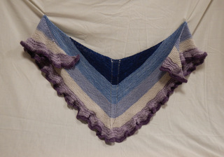 Shawl: blues and purples, ruffles donated by Carol Turkett, member of SAWS2