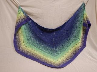 Shawl: blue, green, yellow donated by Carol Turkett, member of SAWS2