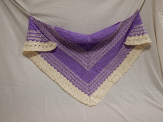 Shawl: purple and off-white donated by Carol Turkett, member of SAWS2