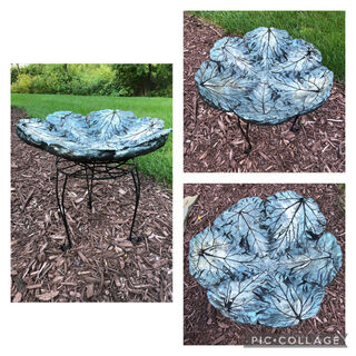 Concrete Bird Bath made by Arlene Meyer, member of CarpentHERS