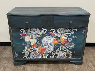 25 - Floral Skull Dresser