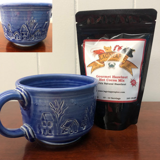 08 - Lagniappe Cocoa & Blue Mug with Houses