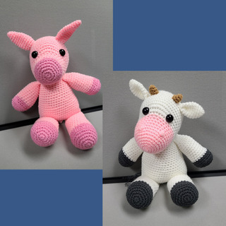37 - Pink Pig and White Cow Crochet Set