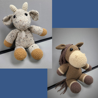 40 - Horse and Goat Crochet Set