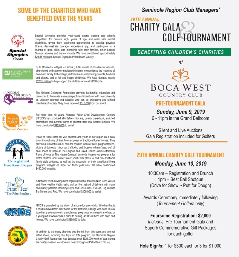 Seminole Region Club Managers' 29th Annual Charity Gala & Golf Tournament