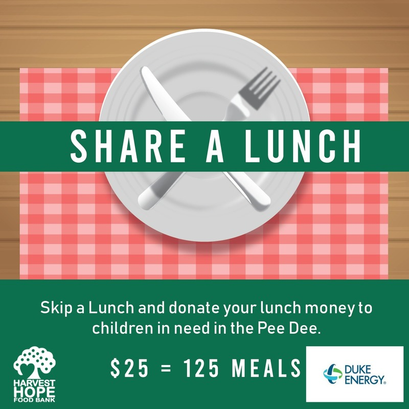 Duke Energy Share a Lunch Fundraiser for Harvest Hope Food Bank