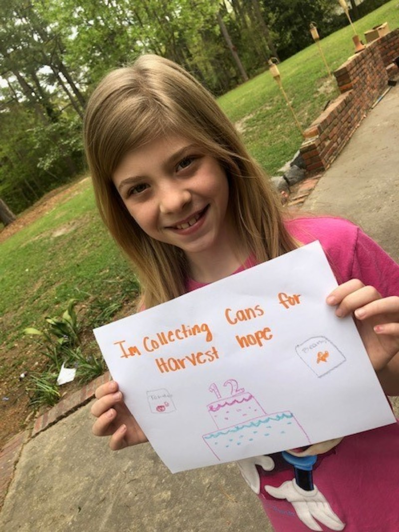 Celebrate Sarah Beth Burt' 12th Birthday by Supporting Harvest Hope Food Bank