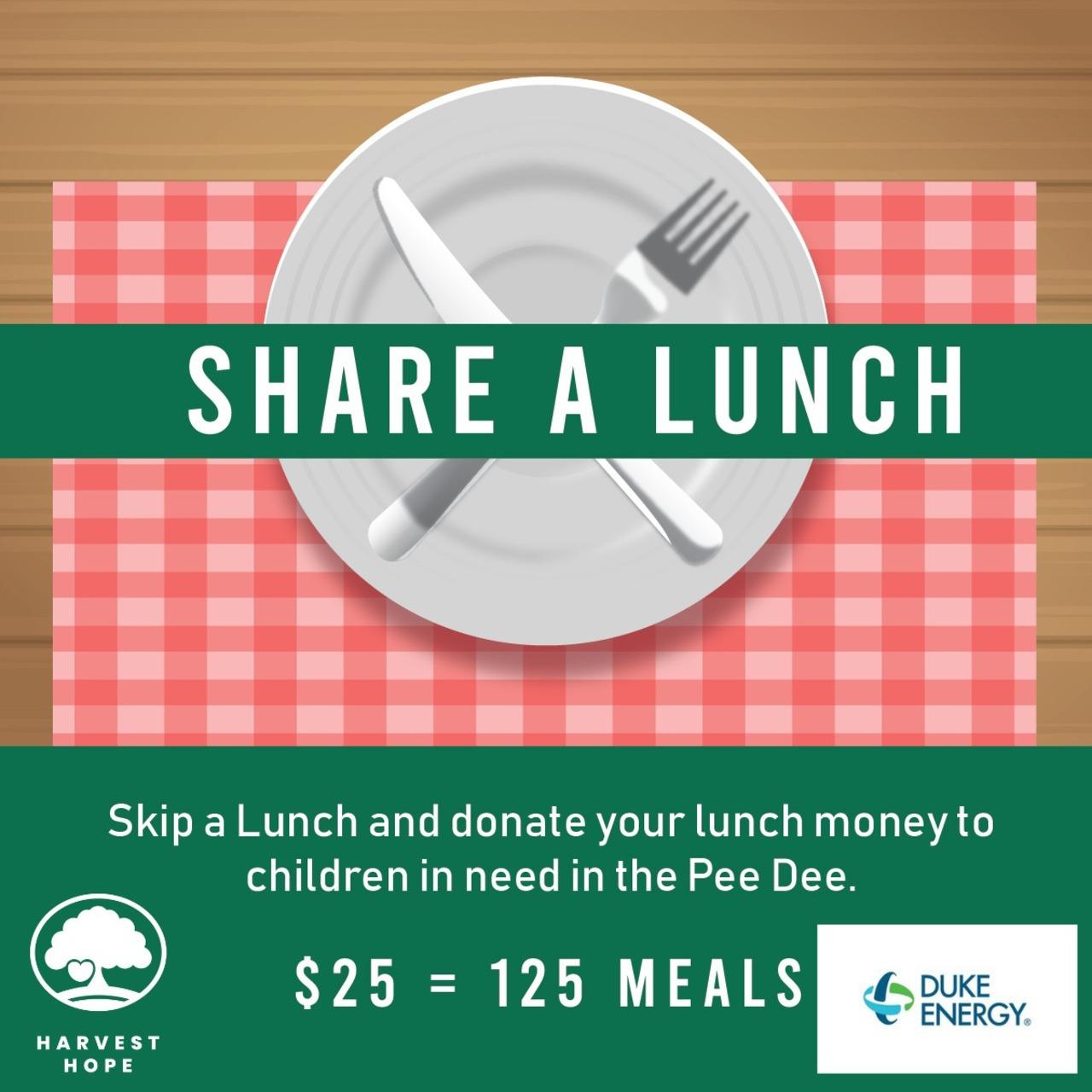 Duke Energy's Share a Lunch Fundraiser for Harvest Hope Food Bank