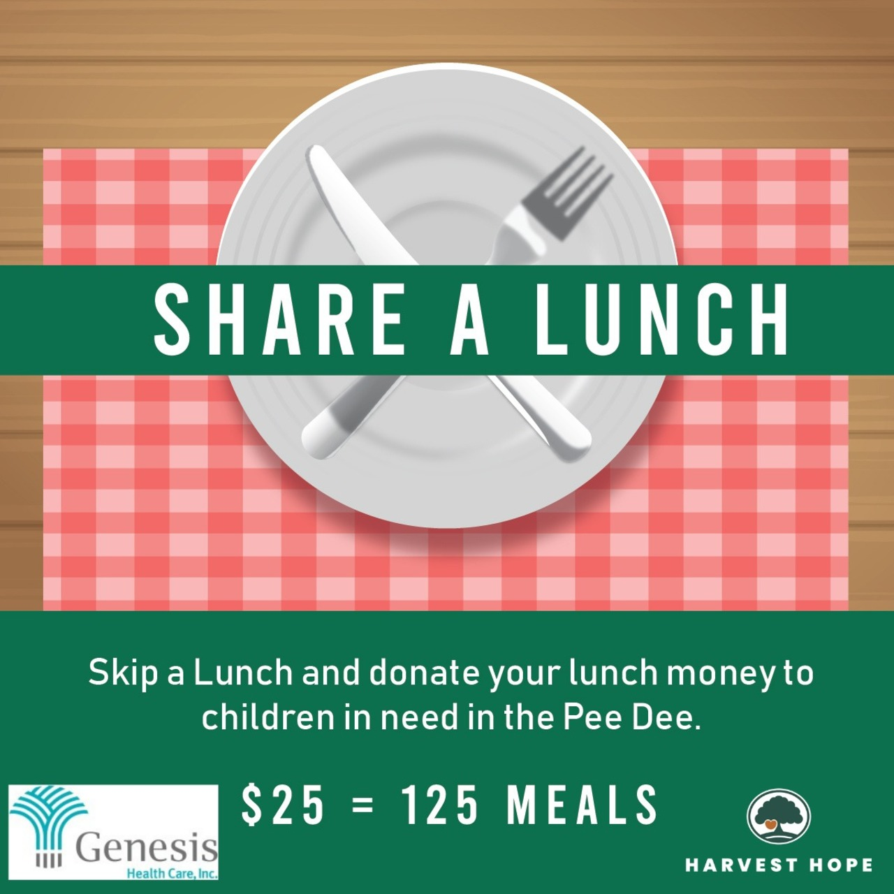 Genesis Healthcare's Share a Lunch Fundraiser for Harvest Hope