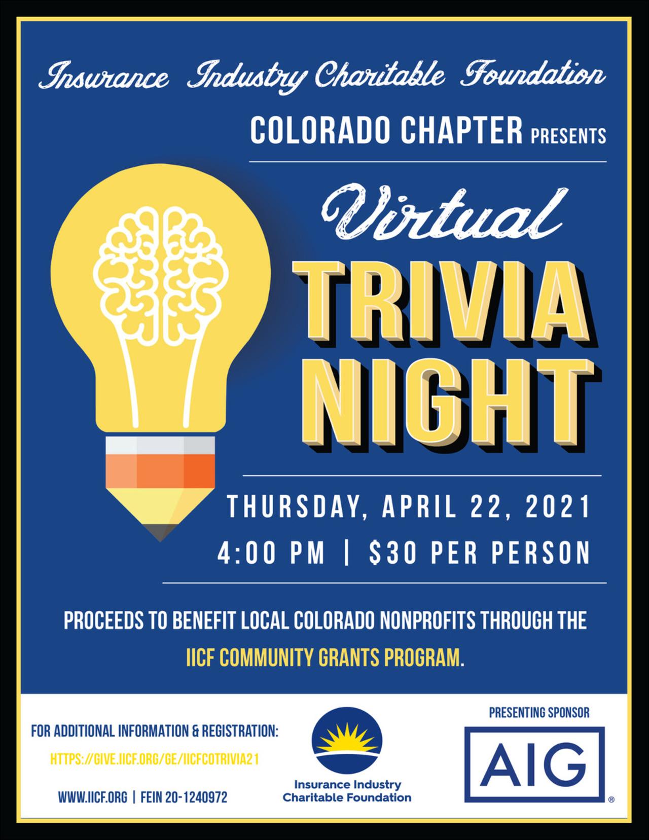 IICF Colorado Virtual Trivia Night 2021