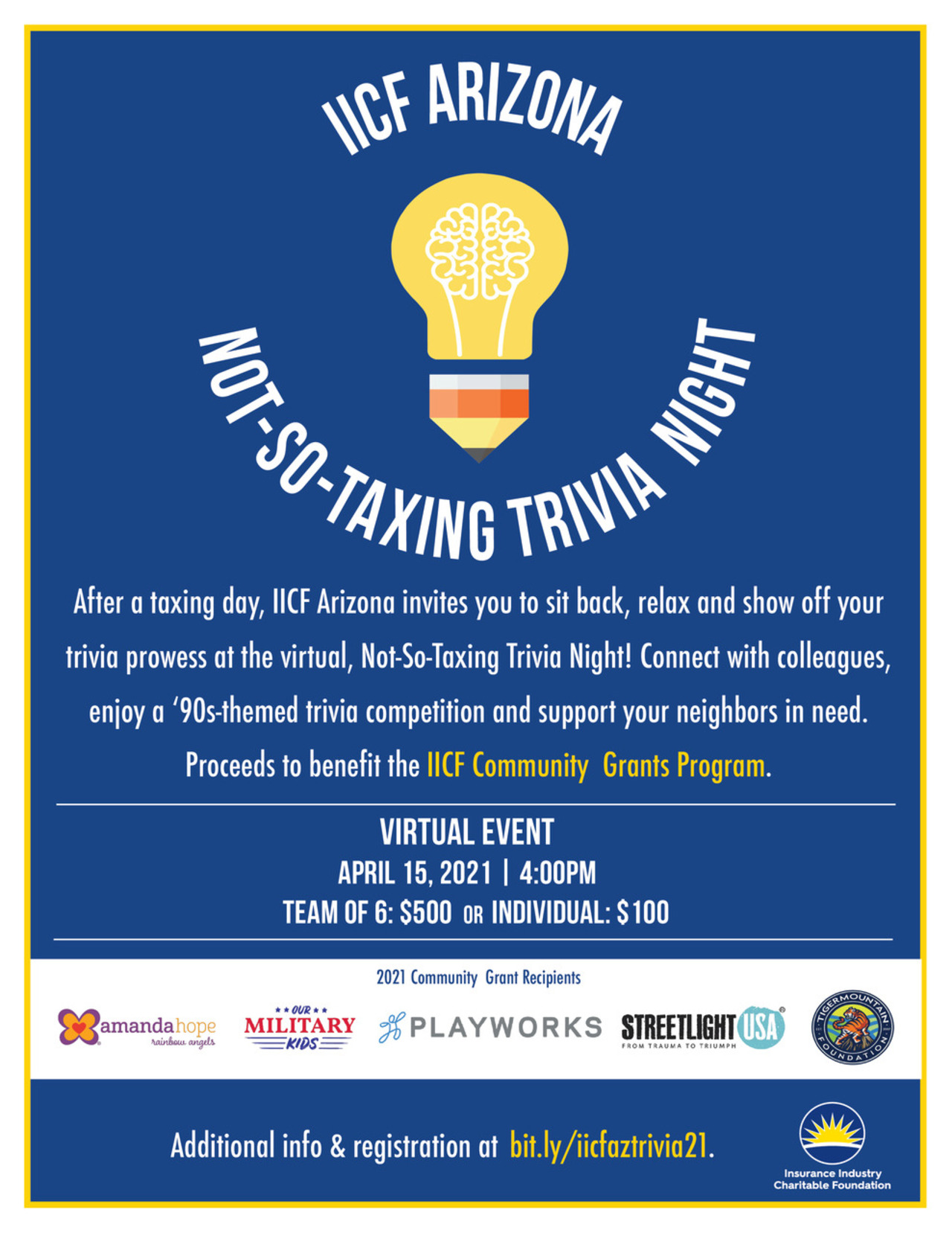 IICF Arizona Not-So-Taxing Trivia Night 2021