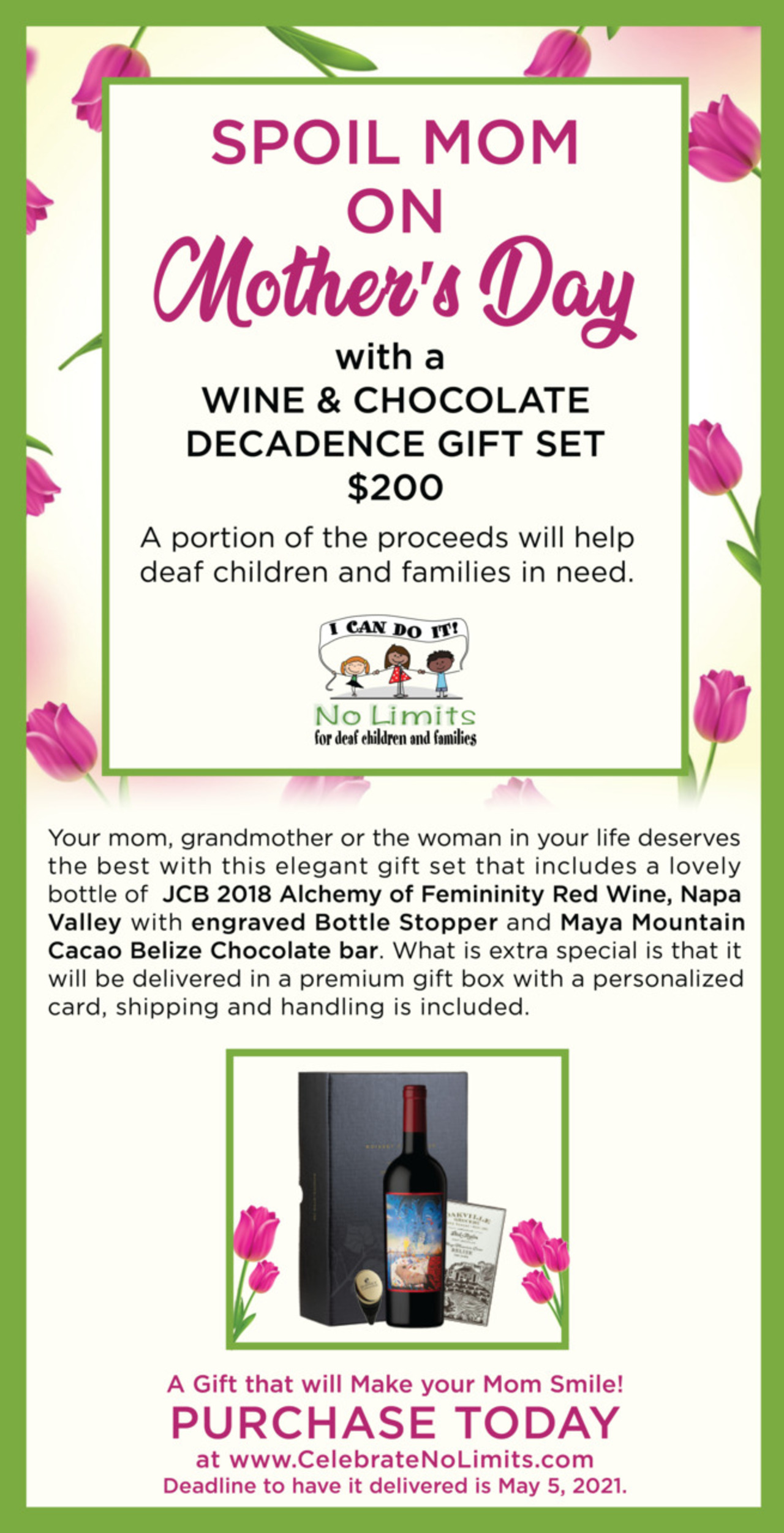 Mother's Day Wine & Chocolate Decadence Gift Set