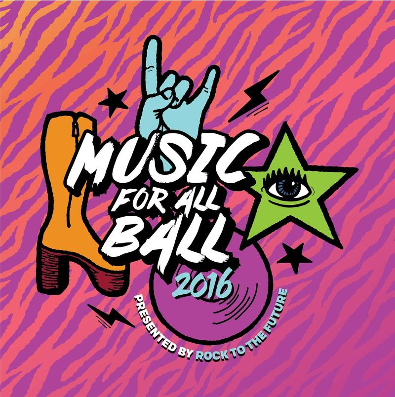 "Rock to the Future's Music for All ""GLAM ROCK"" Ball 2016 VIP Invitation"