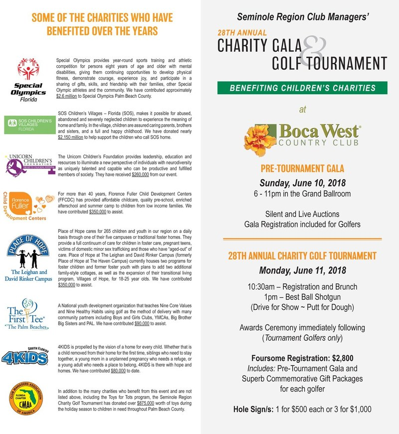 Seminole Region Club Managers' 28th Annual Charity Gala & Golf Tournament