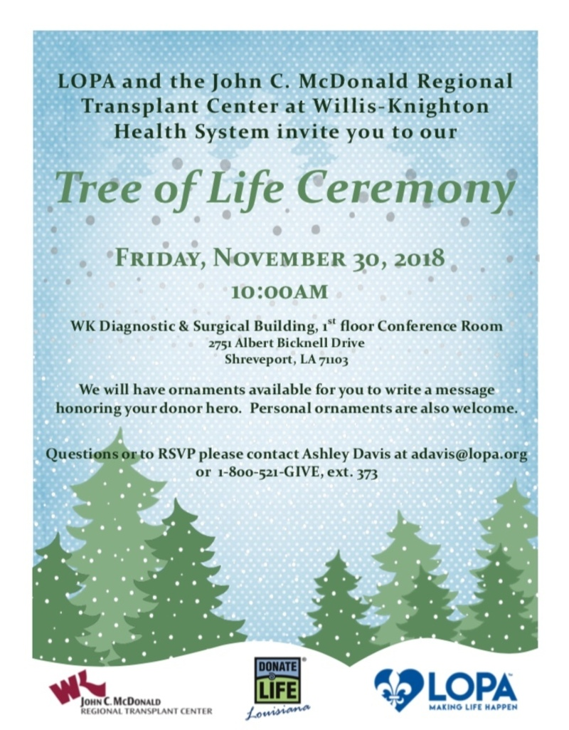 Tree of Life Ceremony at Willis-Knighton in Shreveport