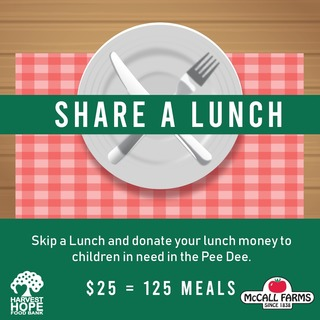 McCall Farms Share a Lunch Fundraiser for Harvest Hope Food Bank