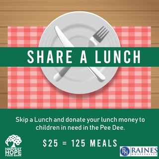 Raines Hospitality Share a Lunch Fundraiser for Harvest Hope Food Bank