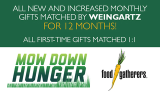 Mow Down Hunger 2019 - Your Monthly Gift Matched